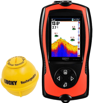 LUCKY Portable Fish Finder Transducer Sonar Sensor 147 Feet Water Depth Finder